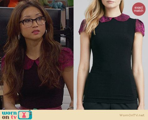 Fashion of Dads: Alice & Olivia floral print solid top worn by Brenda Song