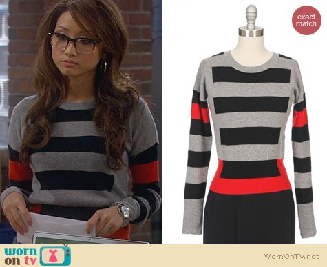 Dads Fashion: Autumn Cashmere Graphic Striped Sweater worn by Brenda Song