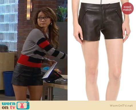 Dads Fashion: Club Monaco Stephanie Faux Leather Shorts worn by Brenda Song