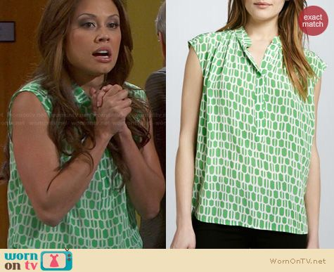 Dads Fashion: Plenty green print peasant top worn by Vanessa Lachey