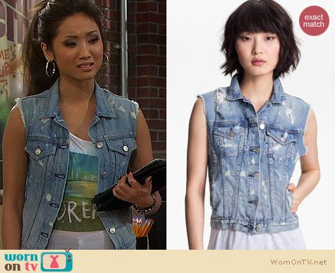 Dads Fashion: Rag & Bone Destroyed Denim Vest worn by Brenda Song