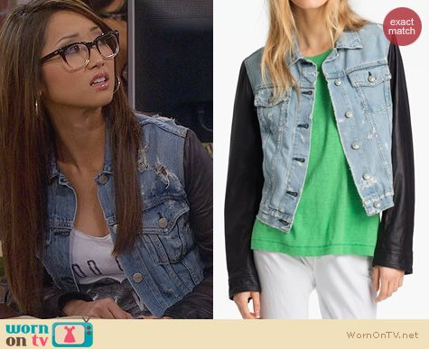 Wornontv Veronica S Denim Jacket With Leather Sleeves And Good