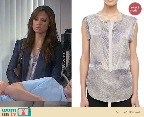 Dads Fashion: Rebecca Taylor Leopard Print Silk Blouse worn by Vanessa Lachey