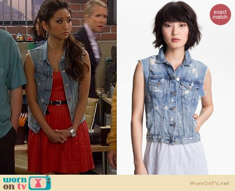 Dads Style: Rag & Bone Tattered Denim Vest worn by Brenda Song
