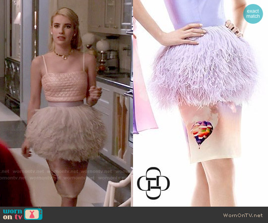 Daizy Shely SS 2014 Collection Feather Peplum Skirt worn by Chanel Oberlin on Scream Queens