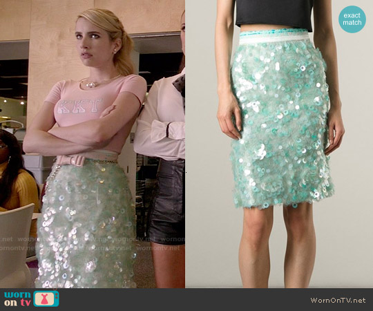 Daizy Shely Paillettes Skirt worn by Chanel Oberlin on Scream Queens