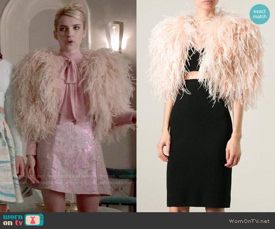 Daizy Shely Ostrich Feather Bolero worn by Emma Roberts on Scream Queens