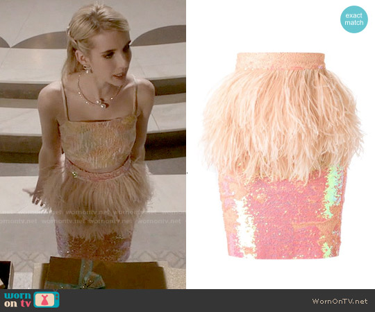 Daizy Shely Sequinned Pencil Skirt worn by Emma Roberts on Scream Queens