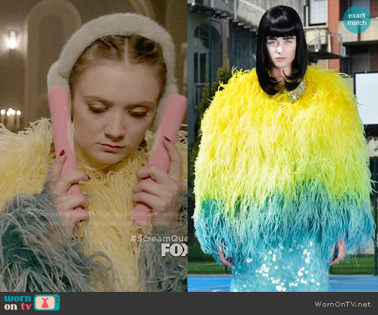 Daizy Shely SS 2015 Feather Coat worn by Billie Lourd on Scream Queens