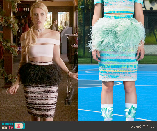 Daizy Shely SS15 Feather Skirt worn by Emma Roberts on Scream Queens