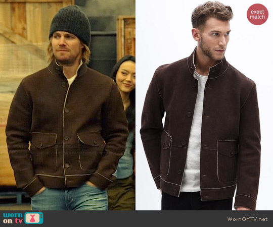Danier Earl Lamb Nubuck Jacket worn by Stephen Amell on Arrow
