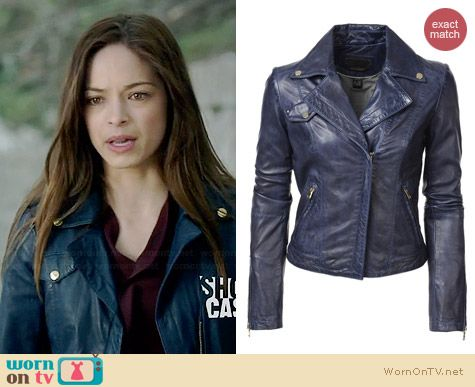 Danier Kirsten Lamb Leather Biker Jacket in Indigo worn by Kristin Kreuk on BATB