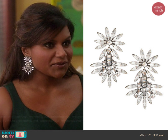Dannijo Katie Large Crystal Earrings worn by Mindy Kaling on The Mindy Project
