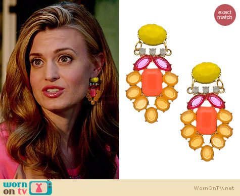David Aubrey Large Belinda Crystal Earrings worn by Brooke D'Orsay on Royal Pains