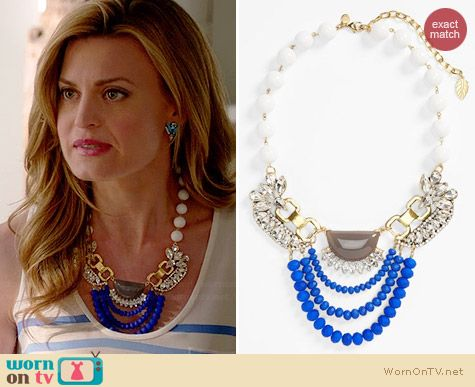 David Aubrey Clara Jeweled Statement Necklace worn by Brooke D'Orsay on Royal Pains