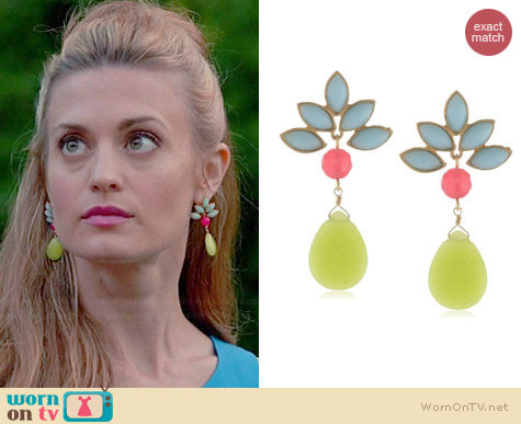 David Aubrey Sadie Fan Post Drop Earrings worn by Brooke D'Orsay on Royal Pains
