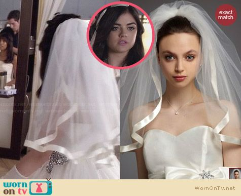 David's Bridal Satin Veil with Ribbon Trim worn by Lucy Hale on PLL