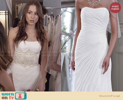 David's Bridal Gown V3540 worn by Troian Bellisario on PLL