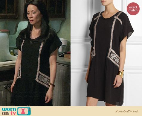 DAY Birger et Mikkelsen Folk Oversized Embroidered Crepe Dress worn by Lucy Liu on Elementary