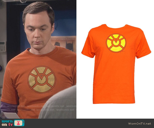 DC Comics Orange Lantern T-shirt worn by Jim Parsons on The Big Bang Theory