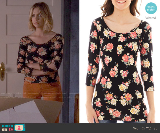 Decree 3/4 Sleeve Bodycon Top in Midnight Rose worn by Ashley Benson on PLL