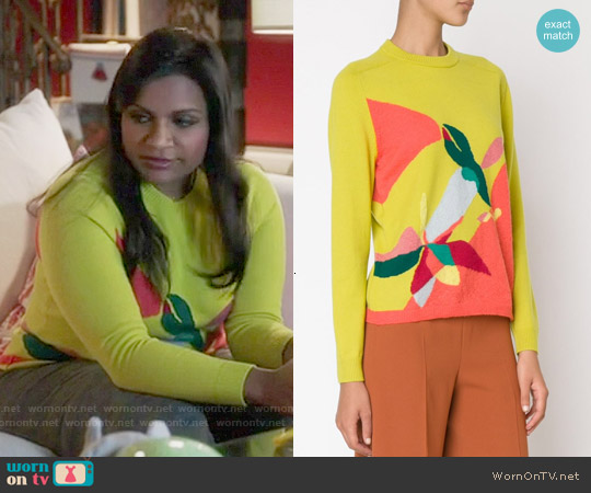 Delpozo Intarsia Print Sweater worn by Mindy Kaling on The Mindy Project