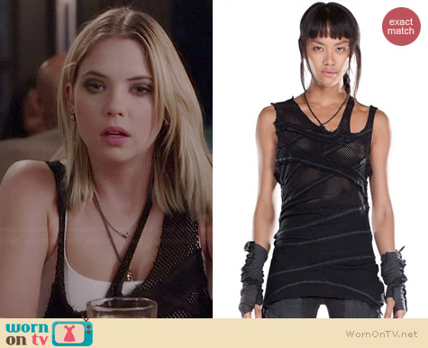 Demobaza Asymmetric Fit Net Tank Top worn by Ashley Benson on PLL