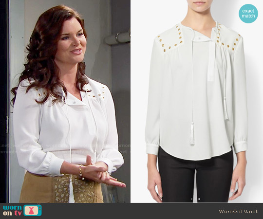 Derek Lam Grommet Detail Shirt worn by Heather Tom on The Bold & the Beautiful