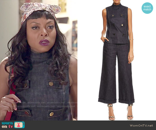 Derek Lam Indigo Denim Sleeveless Military Top worn by Taraji P. Henson on Empire