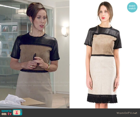 Derek Lam Suede and Leather Patchwork Shift Dress worn by Miriam Shor on Younger