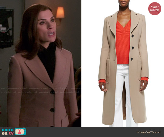 Derek Lam Brushed Double-Face Crepe Coat worn by Julianna Margulies on The Good Wife