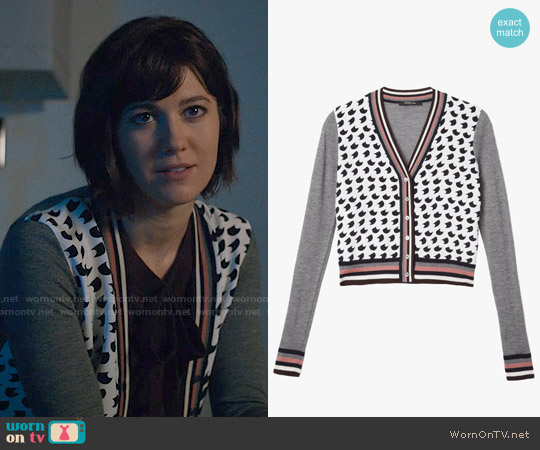 Derek Lam Crescent Print Cardigan worn by Mary Elizabeth Winstead on BrainDead