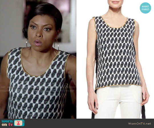 Derek Lam Ikat Checked Fringe Top worn by Taraji P. Henson on Empire