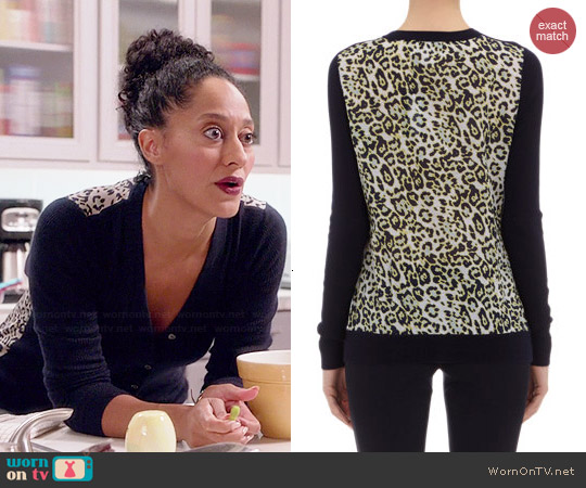 Derek Lam Leopard Print Back Cardigan worn by Tracee Ellis Ross on Black-ish