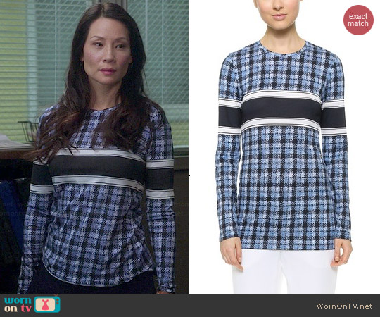 Derek Lam Long Sleeve Tshirt worn by Lucy Liu on Elementary