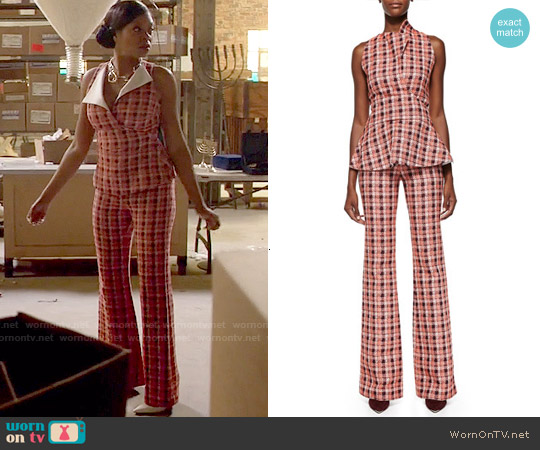Derek Lam Novelty Plaid Sleeveless Peplum Top and Flared Trousers worn by Taraji P. Henson on Empire