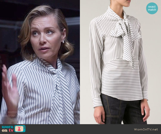 Derek Lam Striped Pussy Bow Blouse worn by Portia de Rossi on Scandal