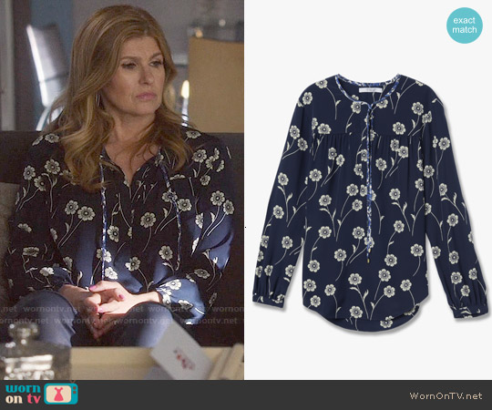 Derek Lam Tie Blouse in Midnight worn by Connie Britton on Nashville