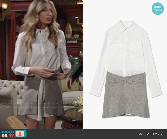 Derek Lam Wrap Skirt Shirtdress worn by Melissa Ordway on The Young & the Restless