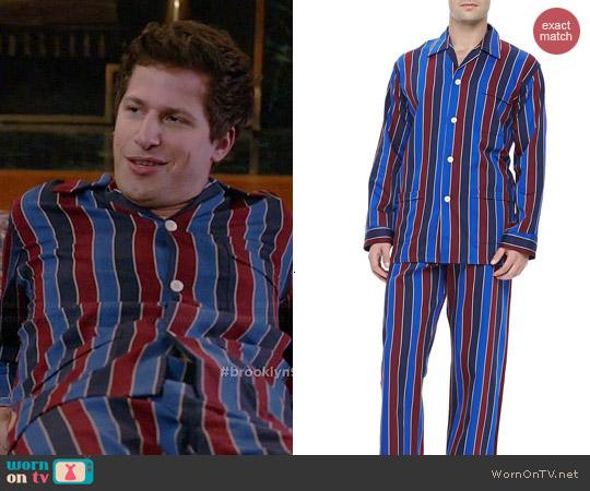 Derek Rose Multi-Stripe Pajamas in Blue/Burgundy worn by Andy Samberg on Brooklyn 99