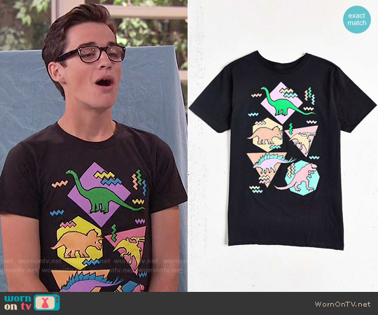 Design by Humans Nineties Dinosaur T-shirt worn by Joey Bragg on Liv & Maddie