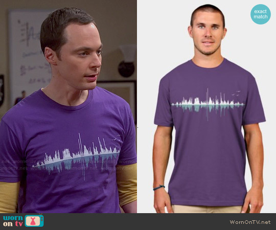 Design by Humans Music City Tee in Purple worn by Jim Parsons on The Big Bang Theory