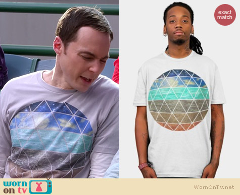 Design by Humans igo2cairo Strata Geodesic Tshirt worn by Sheldon Cooper on The Big Bang Theory