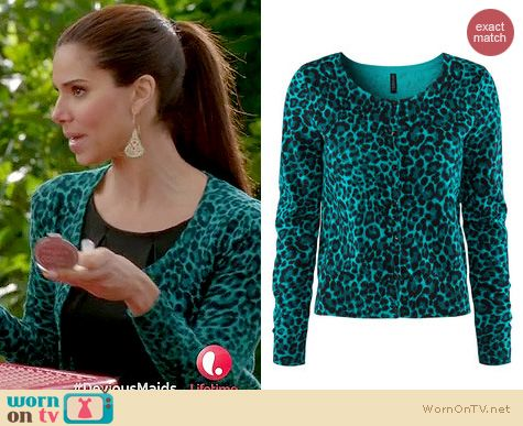 WornOnTV: Carmen's teal green leopard print cardigan on Devious ...
