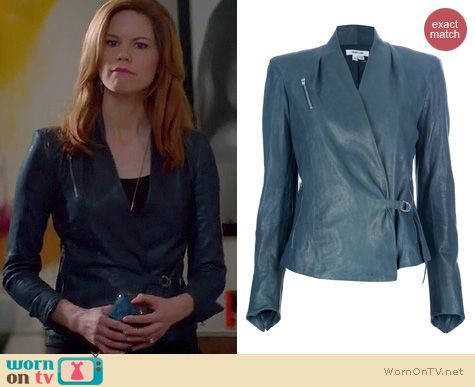Devious Maids Fashion: Helmut Lang blue leather biker jacket worn by Mariana Klaveno