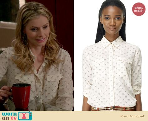 Devious Maids Fashion: Madewell crossed swords topaz silk shirt worn by Brianna Brown