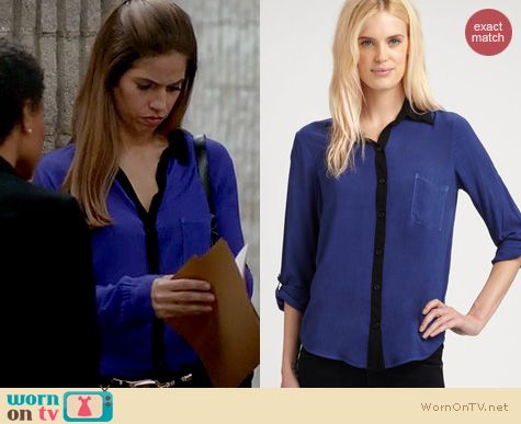 Devious Maids Fashion: Splendid Contrast Collar shirt in blue worn by Ana Oritz
