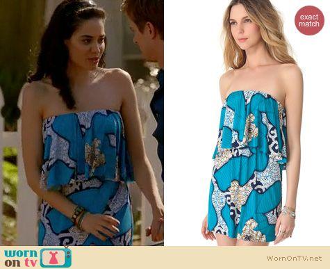 Devious Maids Fashion: TBags Los Angeles Blue strapless ruffle dress worn by Edy Ganem