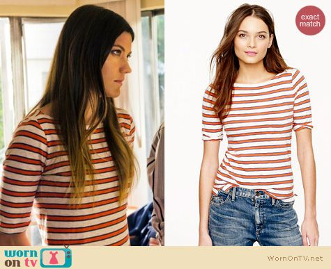 Dexter Fashion: J. Crew Elbow Sleeve Nautical Stripe Boatneck tee worn by Jennifer Carpenter