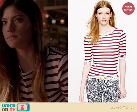 Dexter Fashion: J. Crew Elbow sleeve tee in stripe worn by Jennifer Carpenter